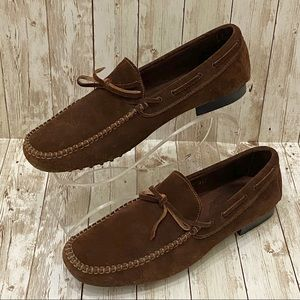 KROLL Italy Brown Suede Leather Men's Loafers 44